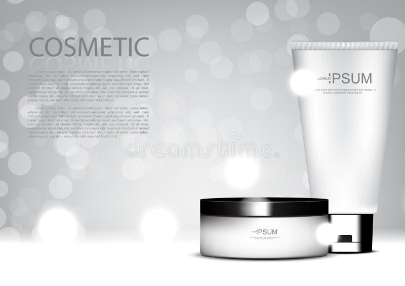 Sistema de cuidado de piel con el tem cosmético de los anuncios del vector del fondo del brillo libre illustration