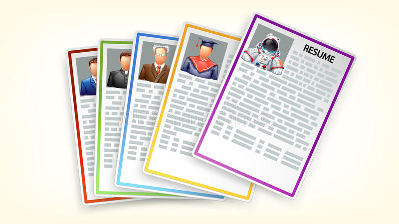 Sistema de curriculums vitae stock de ilustración