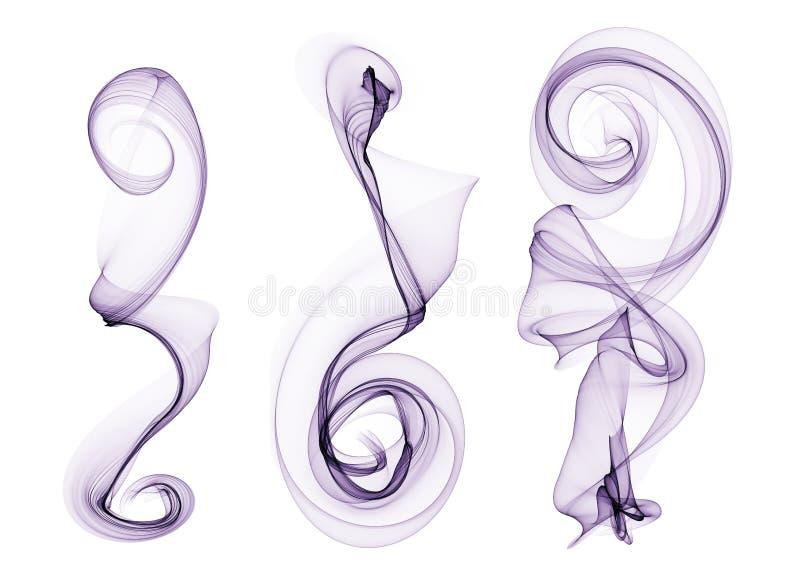 Sistema de curvas púrpuras de la onda del humo aisladas en el extracto blanco stock de ilustración