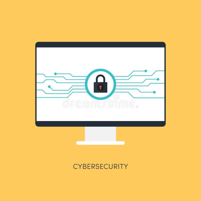 Sistema de Cybersecurity, concepto de la protección de Internet stock de ilustración