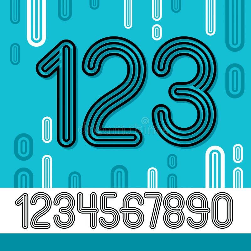 Sistema de dígitos retros elegantes del vector, colección moderna de los números Los números redondeados de moda de 0 a 9 se pued libre illustration