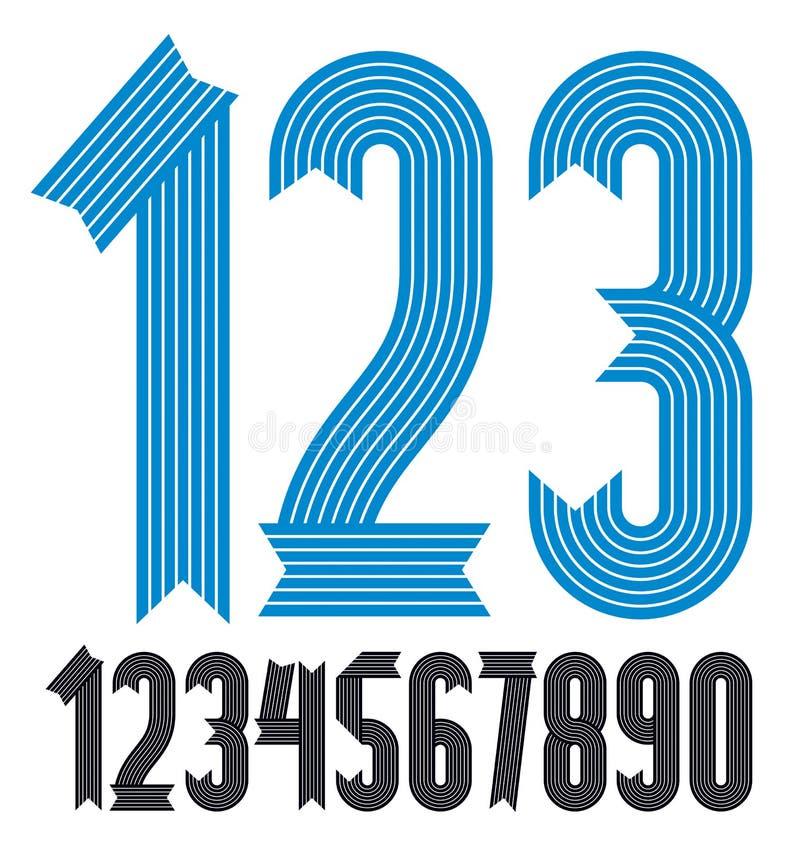 Sistema de d?gitos enrrollados frescos del vector, colecci?n moderna de los n?meros Los números condensados intrépidos modernos d stock de ilustración