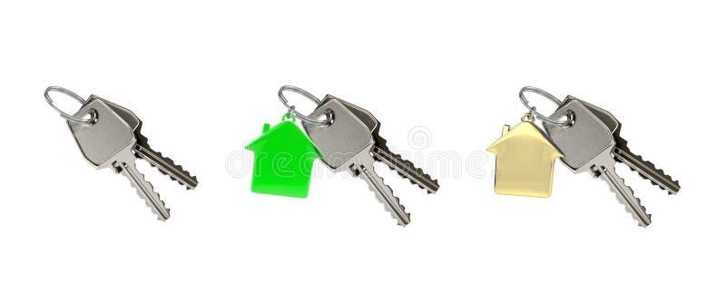 Sistema de 3 de dos llaves en un anillo con el colgante de la casa stock de ilustración