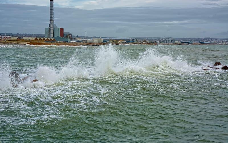 Sistema de defesa de mar artificial do recife foto de stock