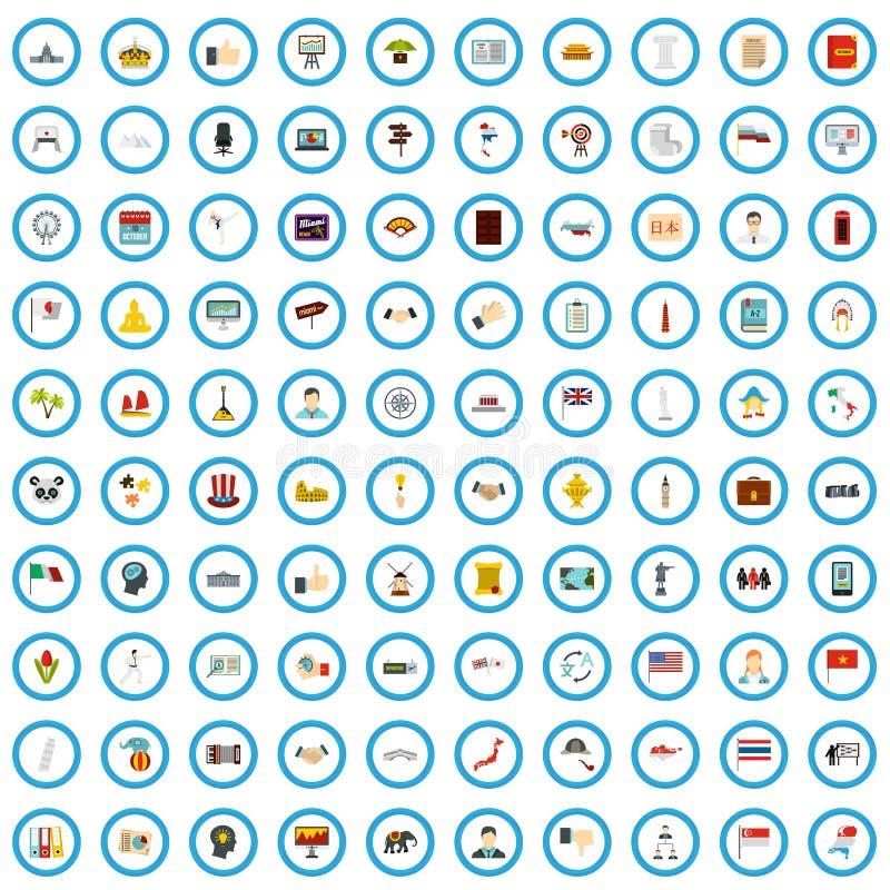 sistema de 100 del mundo iconos del examen, estilo plano ilustración del vector