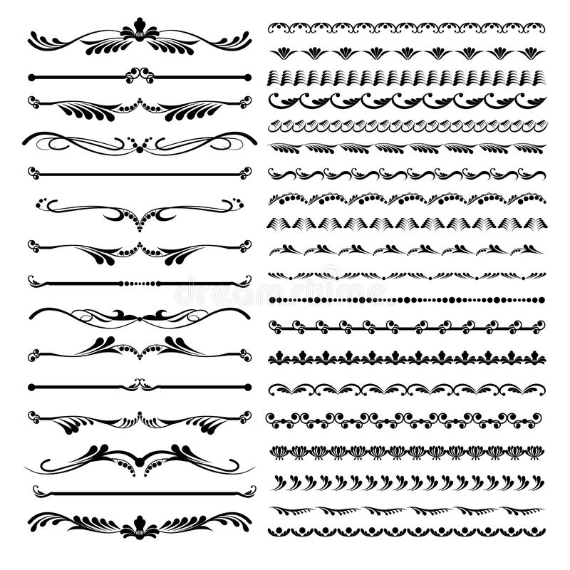 Sistema de delimitadores del texto y de elementos caligráficos ornamentales del línea y florales foto de archivo