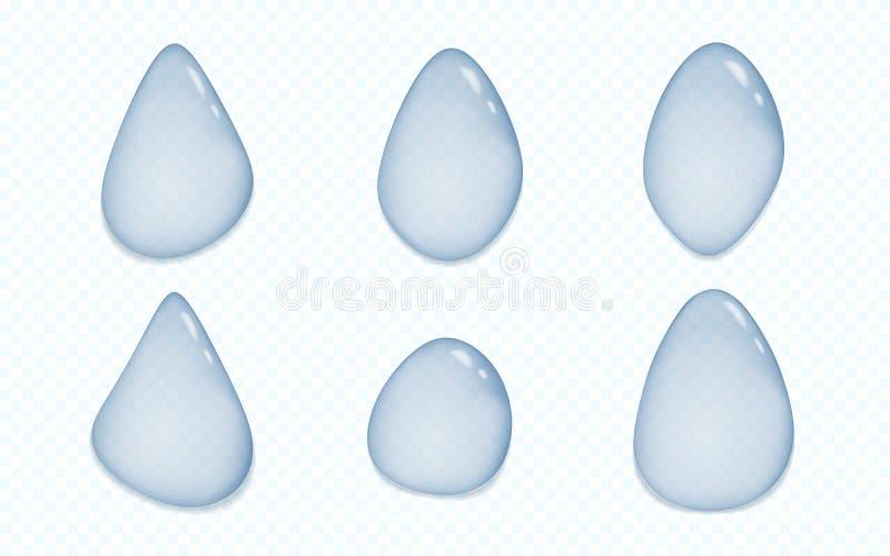 Sistema de descensos transparentes azules de diversos formas y tamaño con la sombra en fondo ajustado gris Ilustración del vector libre illustration