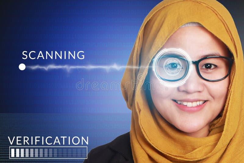 Sistema de detección del ojo, mujer con tecnología de los sensores del ojo fotos de archivo