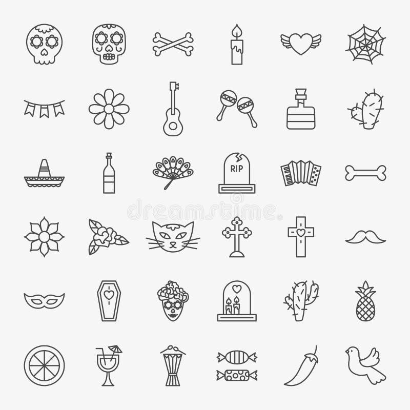 Sistema de Dia De Los Muertos Line Icons libre illustration