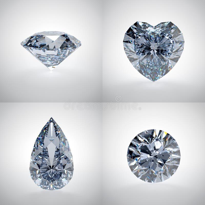 Sistema de diamantes stock de ilustración