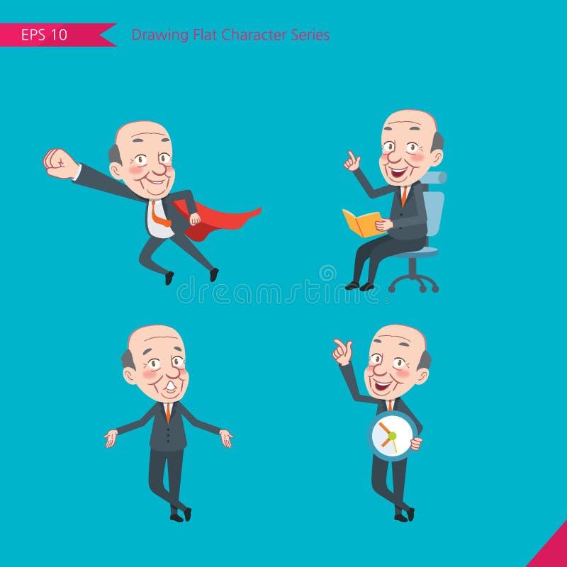 Sistema de dibujar el estilo de carácter plano, actividades del CEO del concepto del negocio - héroe del negocio, pregunta, gesti libre illustration