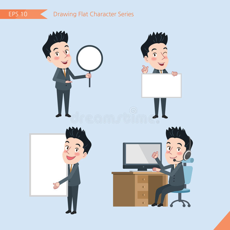 Sistema de dibujar el estilo de carácter plano, actividades jovenes del oficinista del concepto del negocio - bandera, whiteboard stock de ilustración