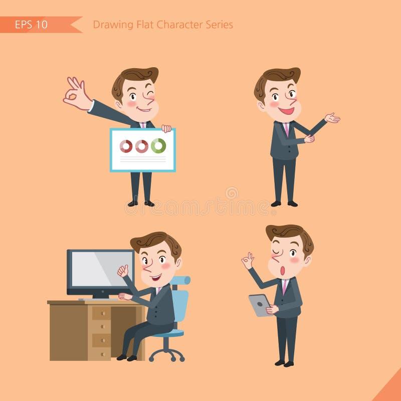 Sistema de dibujar el estilo de carácter plano, actividades jovenes del oficinista del concepto del negocio - presentación, muest ilustración del vector
