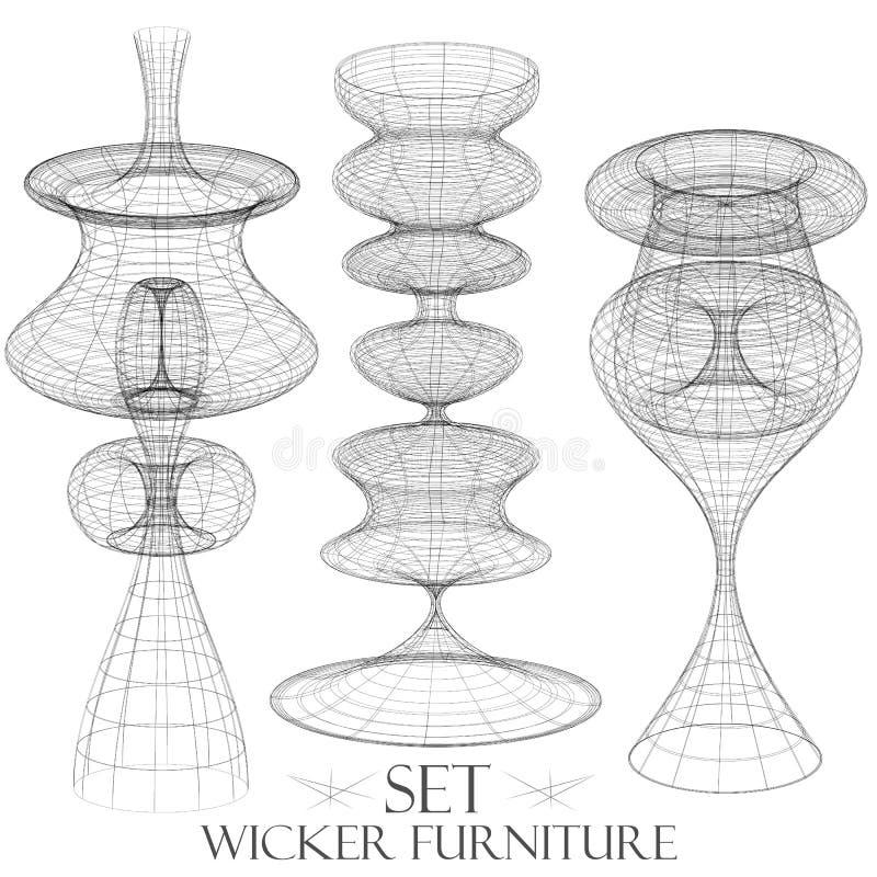 Sistema de dibujos de mimbre de la lámpara de los muebles del vintage de los objetos stock de ilustración