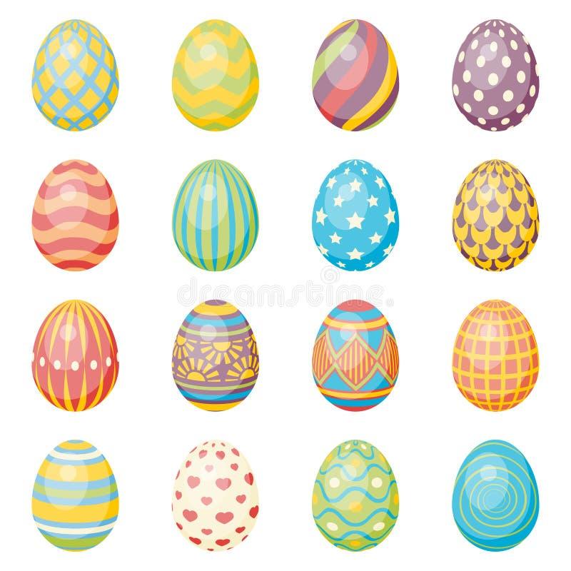 Sistema de dieciséis huevos Colección de Pascua libre illustration
