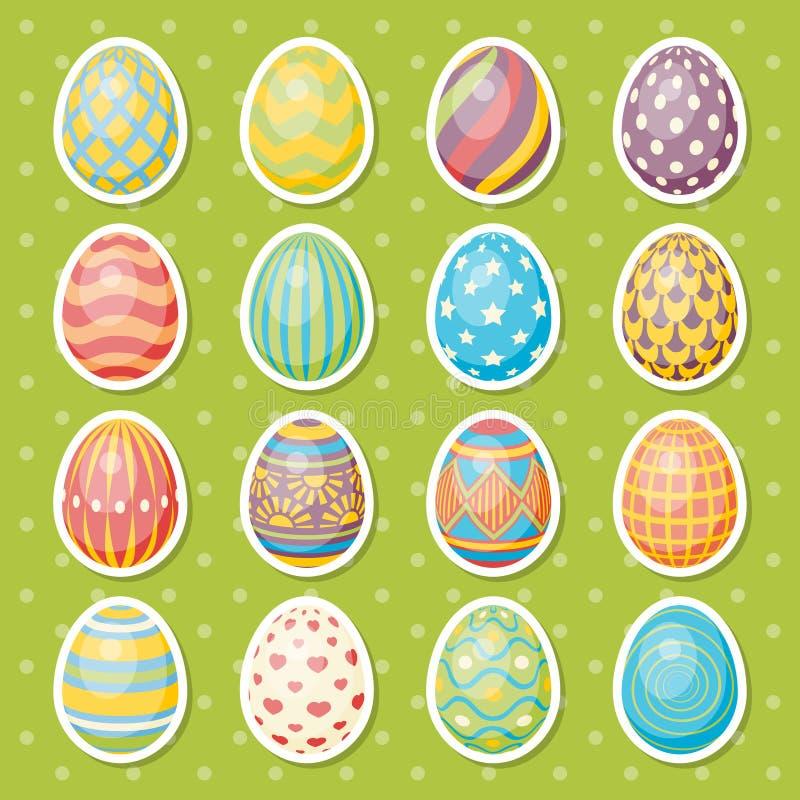 Sistema de dieciséis huevos Colección de Pascua stock de ilustración