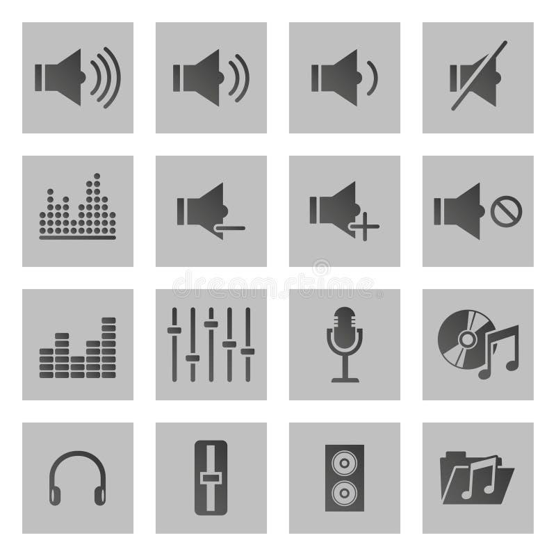 Sistema de dieciséis iconos del sonido y de la música stock de ilustración