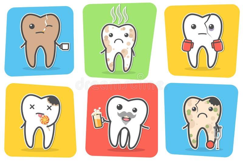 Sistema de dientes problemáticos y malsanos enfermos stock de ilustración
