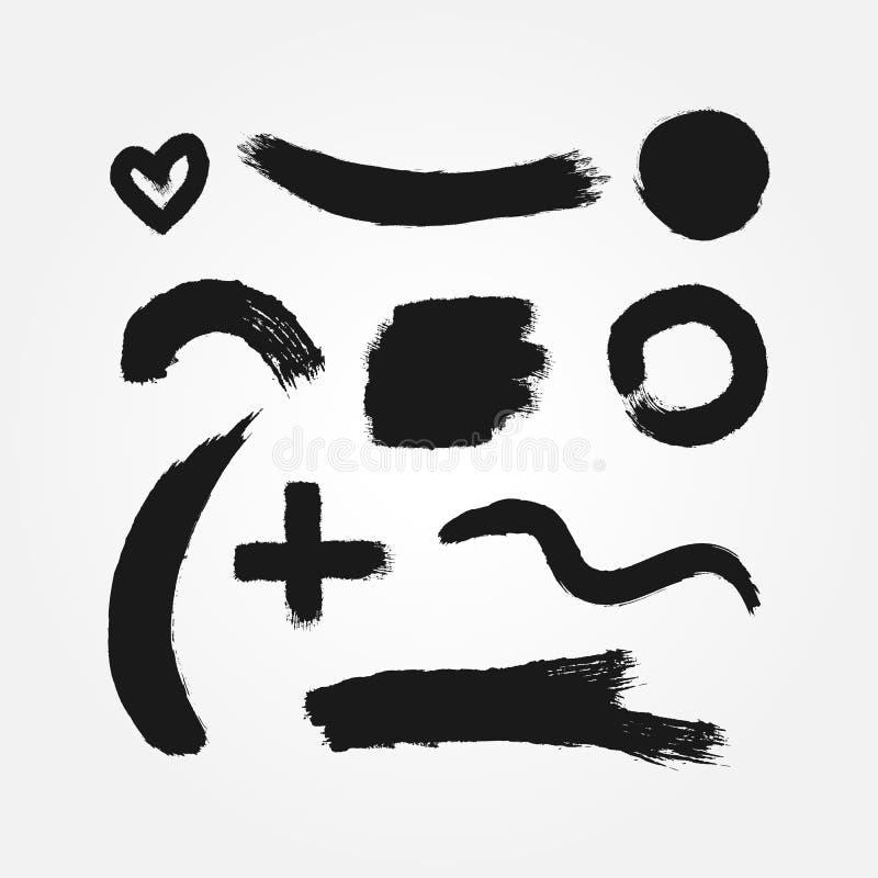 Sistema de diez diversos elementos aislados del grunge ilustración del vector