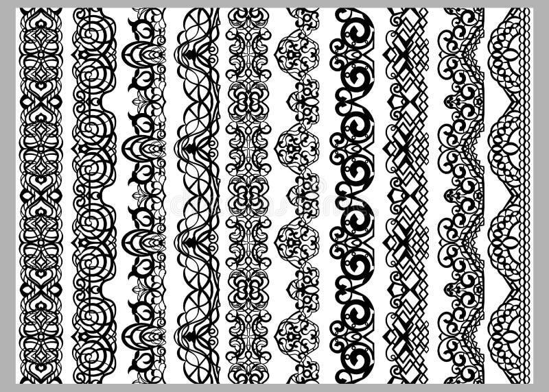 Sistema de diez líneas decorativas sin fin inconsútiles Modelos indios de los elementos de la frontera de la decoración en colore libre illustration