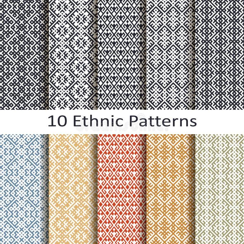 Sistema de diez modelos étnicos ilustración del vector