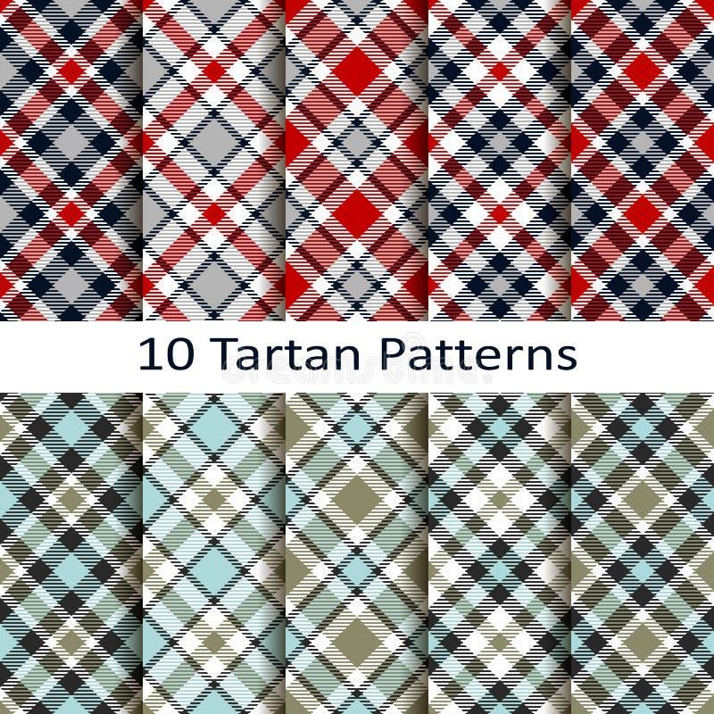Sistema de diez modelos del tartán ilustración del vector