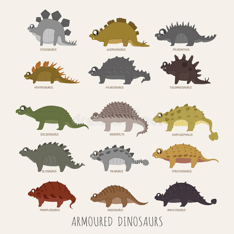 Sistema de dinosaurios acorazados stock de ilustración