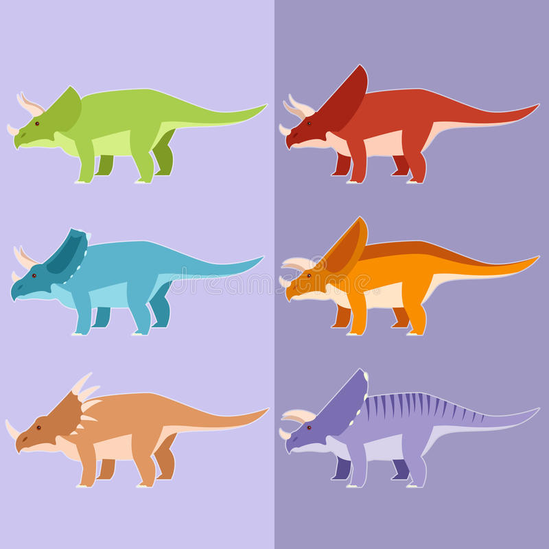 Sistema de dinosaurios de cuernos stock de ilustración