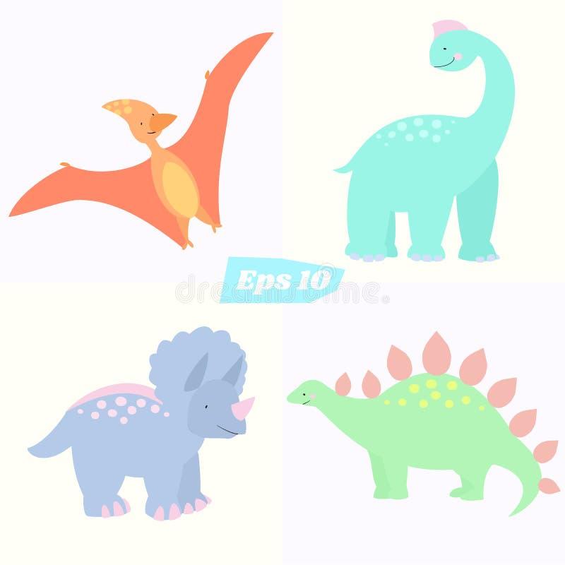 Sistema de dinosaurios lindos ilustración del vector