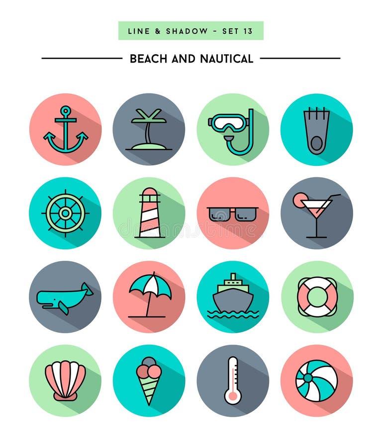 Sistema de diseño plano, de sombra larga, de línea fina playa y de ico náutico stock de ilustración