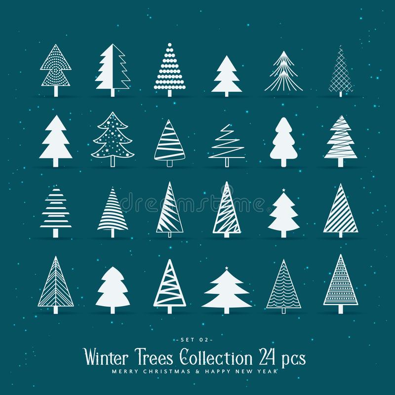 Sistema de 20 diseños creativos del árbol de navidad libre illustration