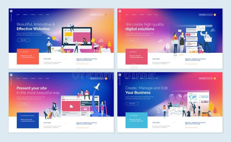 Sistema de diseños creativos de la plantilla del sitio web stock de ilustración