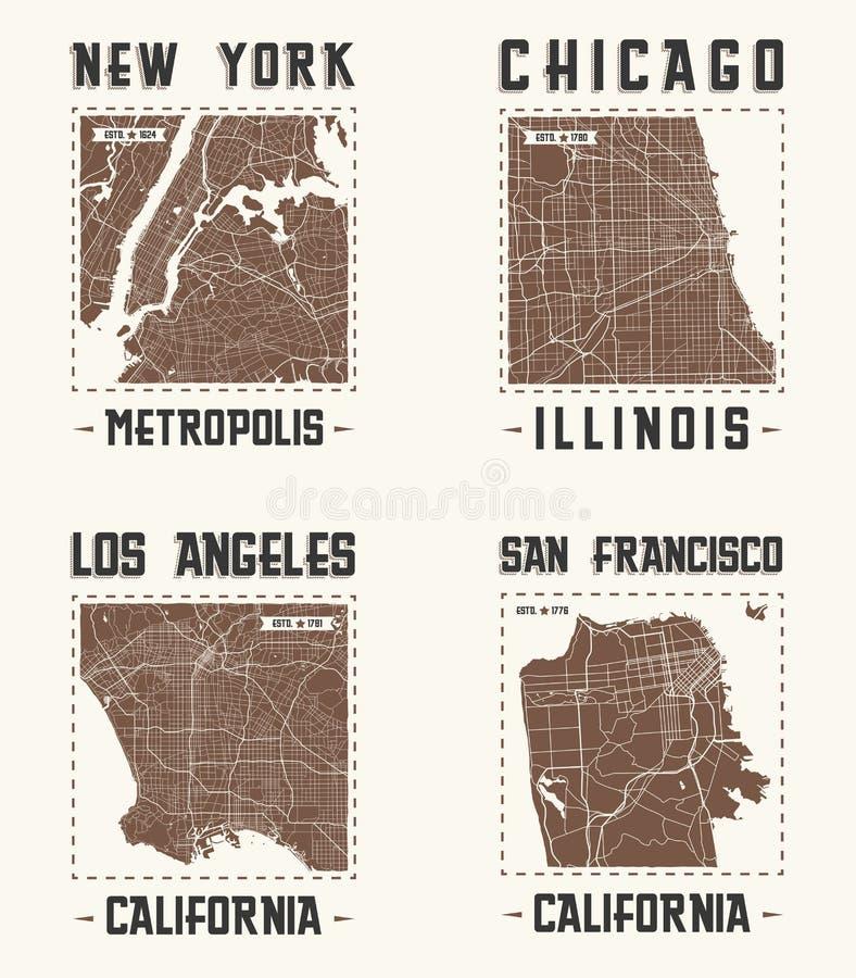 Sistema de diseños de la camiseta del vintage de las ciudades de los E.E.U.U. Ilustración del vector libre illustration