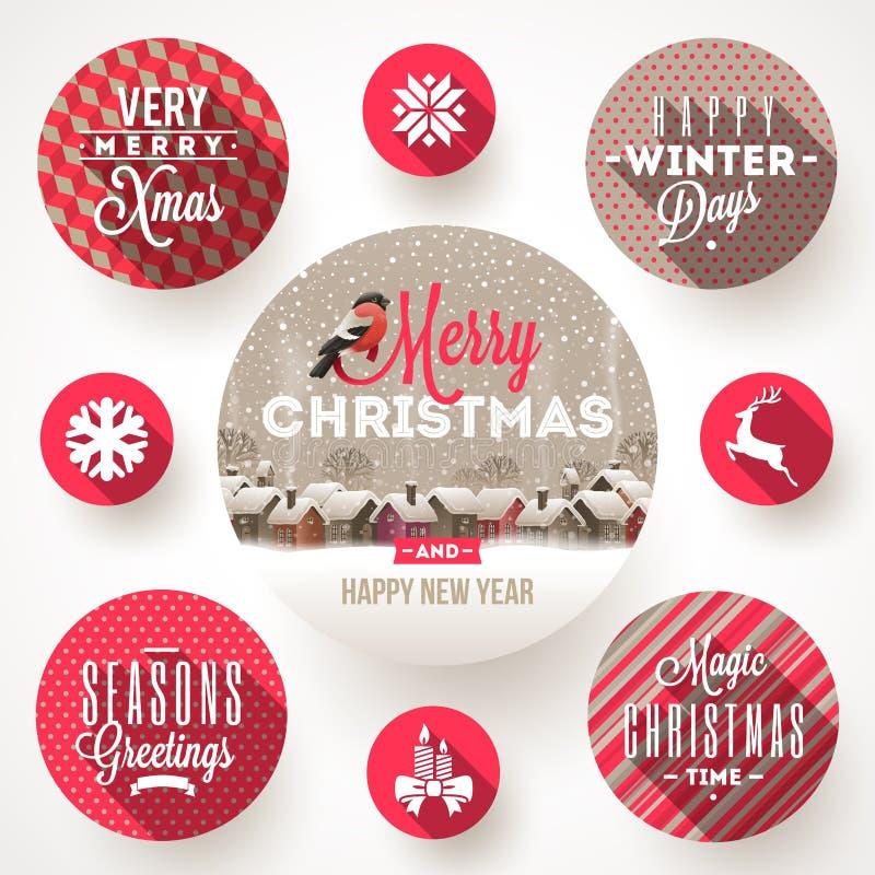 Sistema de diseños de la Navidad stock de ilustración