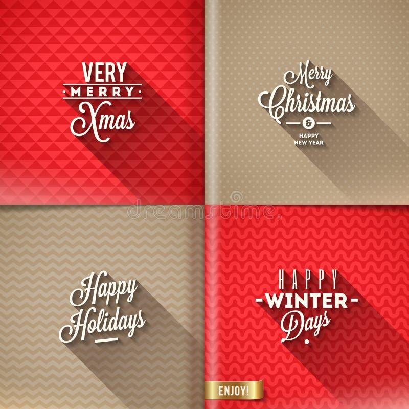 Sistema de diseños de la Navidad ilustración del vector