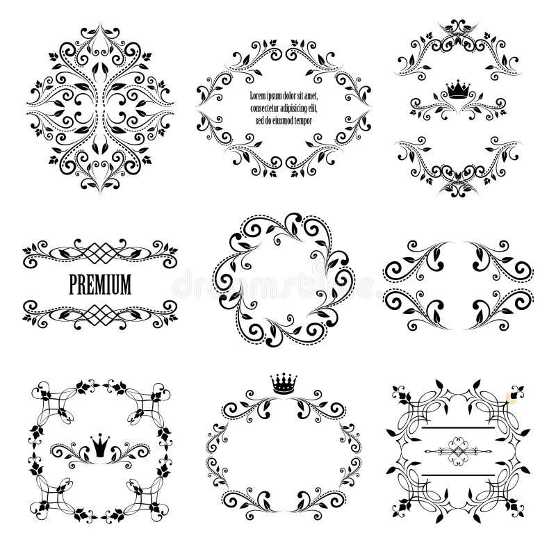 Sistema de diseños diseñados retros negros del ornamental stock de ilustración