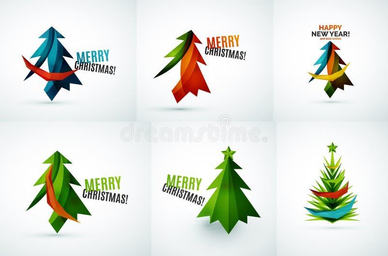 Sistema de diseños geométricos del árbol de navidad libre illustration