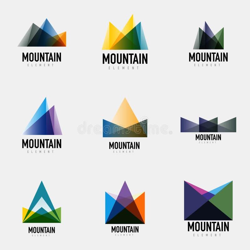Sistema de diseños geométricos del logotipo de la montaña ilustración del vector