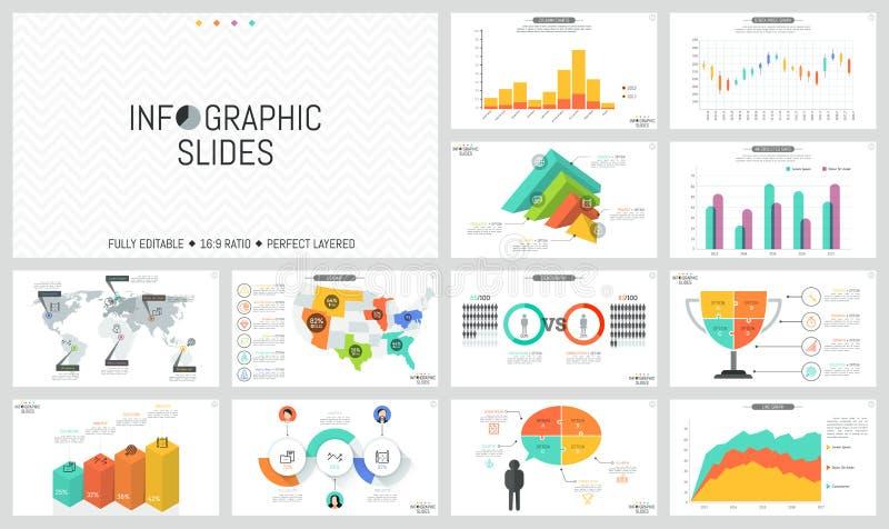 Sistema de disposiciones de diseño infographic mínimas El mundo y los E.E.U.U. traza con las marcas, las cartas de barra, el romp stock de ilustración