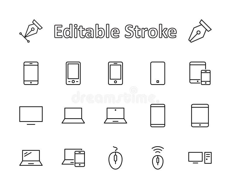Sistema de dispositivos y artilugios elegantes, material informático y electrónica Iconos de los dispositivos electrónicos para e libre illustration