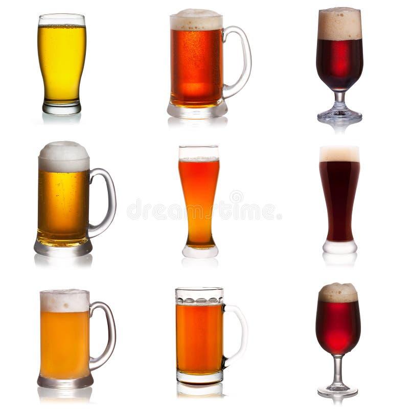 Sistema de diversa cerveza aislado en el fondo blanco fotos de archivo
