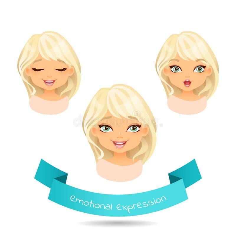 Sistema de diversa emoción: sonrisa, risa, sorpresa stock de ilustración