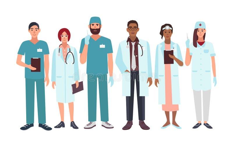 Sistema de diversa especialización de los doctores, enfermera, cirujano, terapeuta, ejemplo de Vector del otorrinolaringólogo ilustración del vector