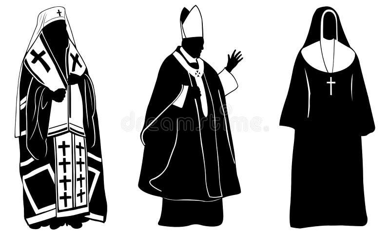 Sistema de diversa gente religiosa stock de ilustración