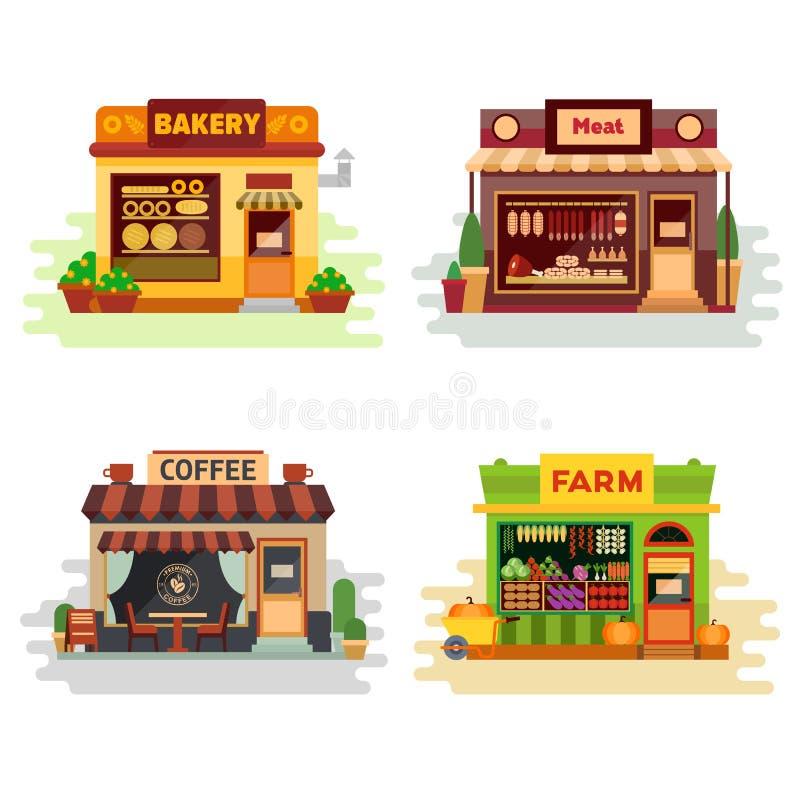 Sistema de diversa panadería colorida de las tiendas, tienda de carne, cafetería, productos agrícolas, fruta y verdura Vector pla stock de ilustración