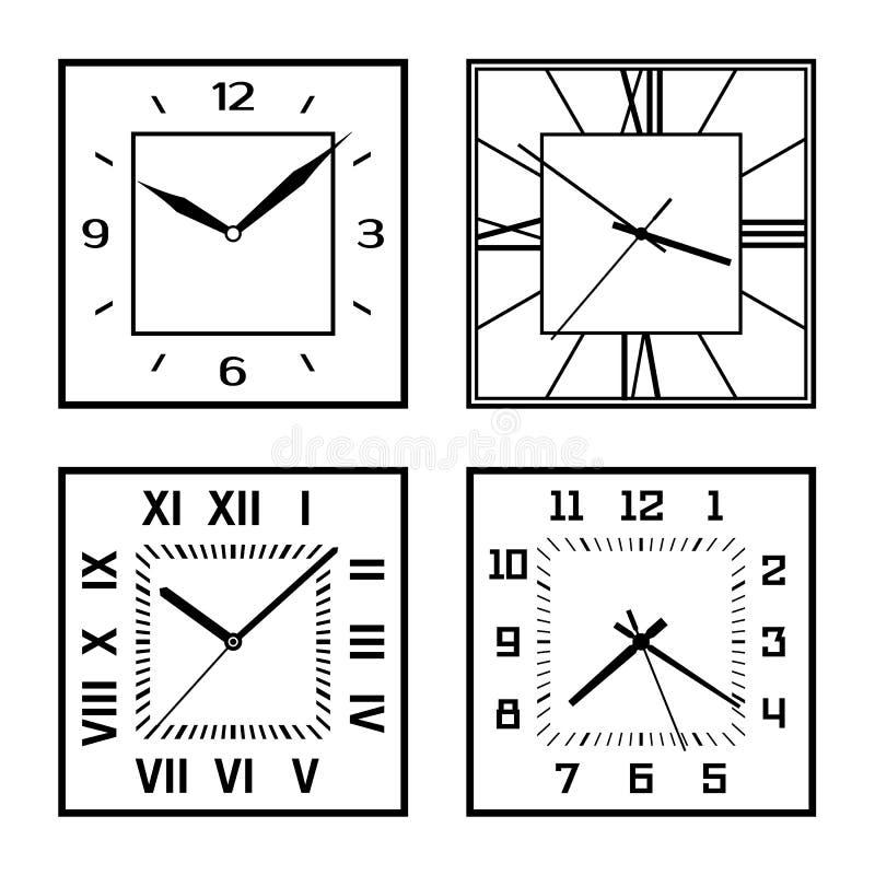 Sistema de diversas caras de reloj ilustración del vector