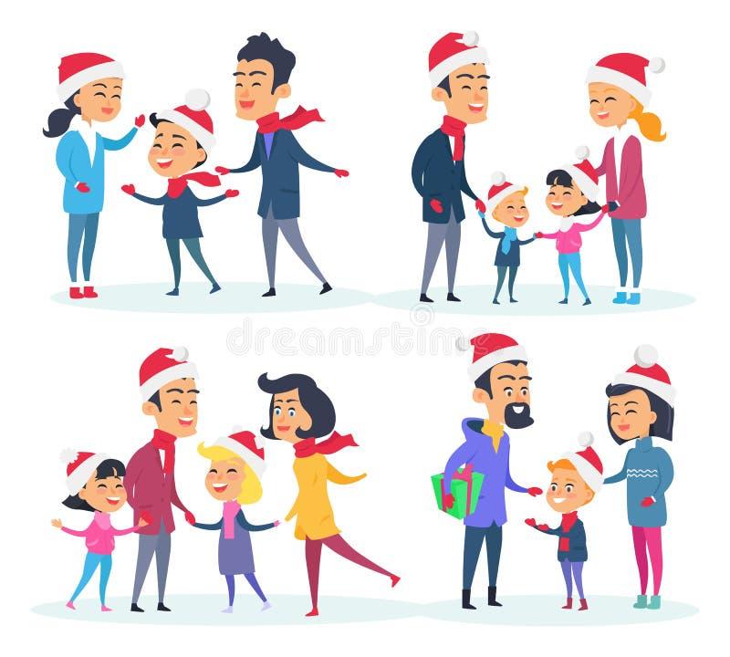 Sistema de diversas familias en el fondo blanco libre illustration