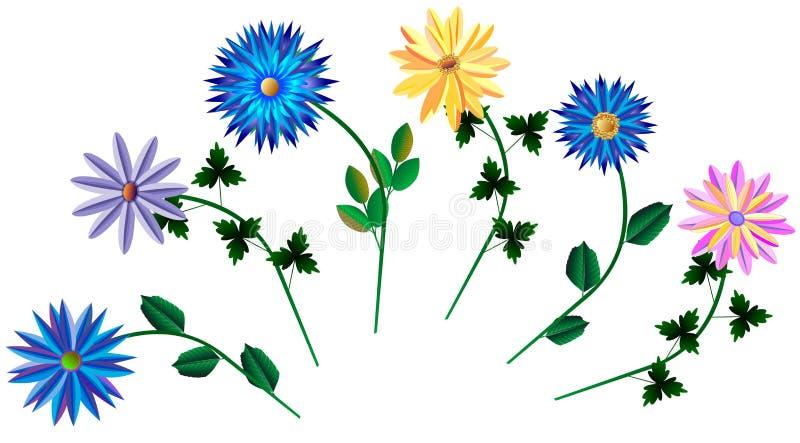 Sistema de diversas flores coloridas libre illustration