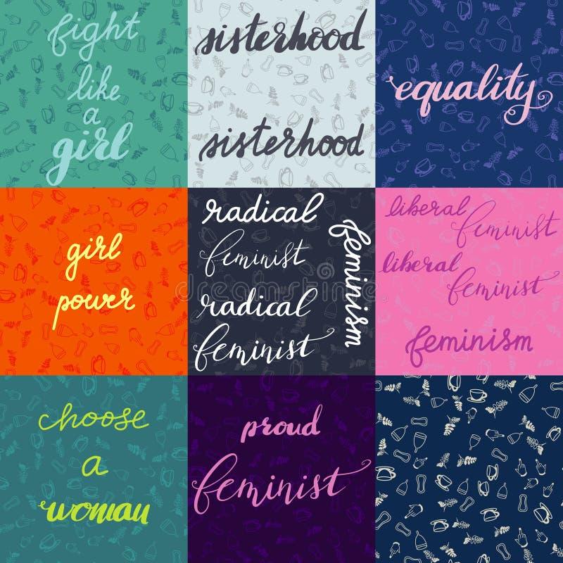 Sistema de diversas letras feministas nueve con el fondo y un modelo inconsútil stock de ilustración