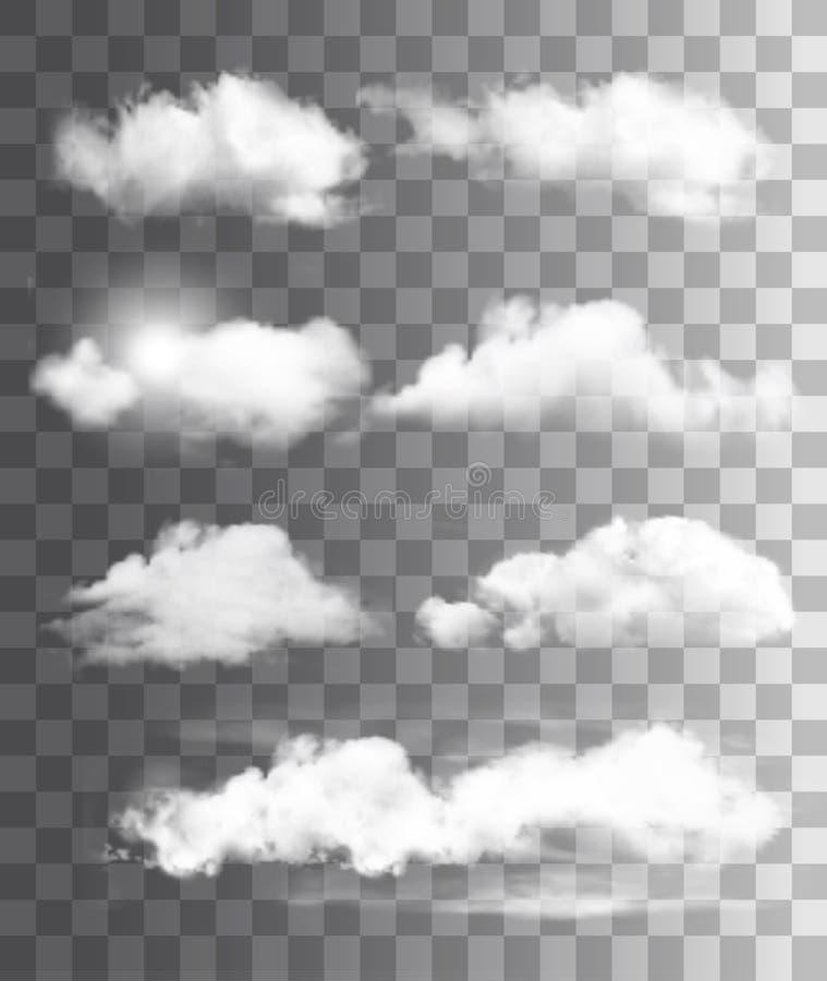 Sistema de diversas nubes transparentes Vector stock de ilustración